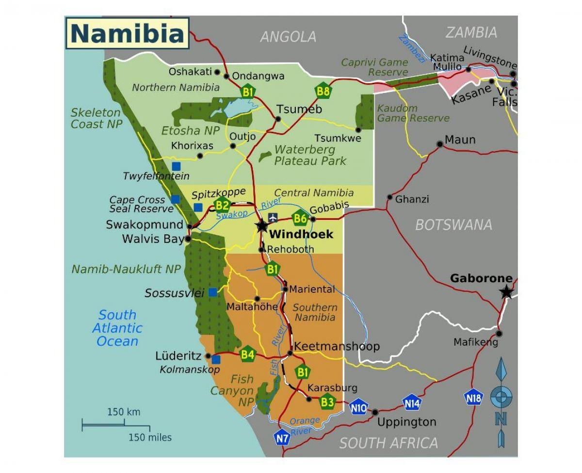 Mapa do norte de Namibia